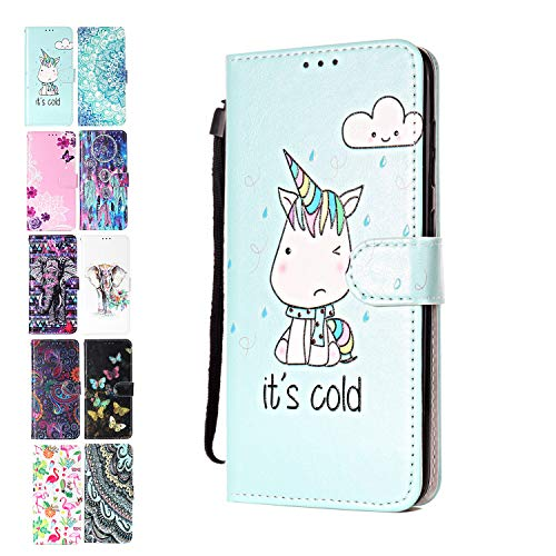Ancase Lederhülle kompatibel für Samsung Galaxy A10 / M10 Hülle Einhorn Muster Handyhülle Flip Hülle Cover Schutzhülle mit Kartenfach Ledertasche für Mädchen Damen