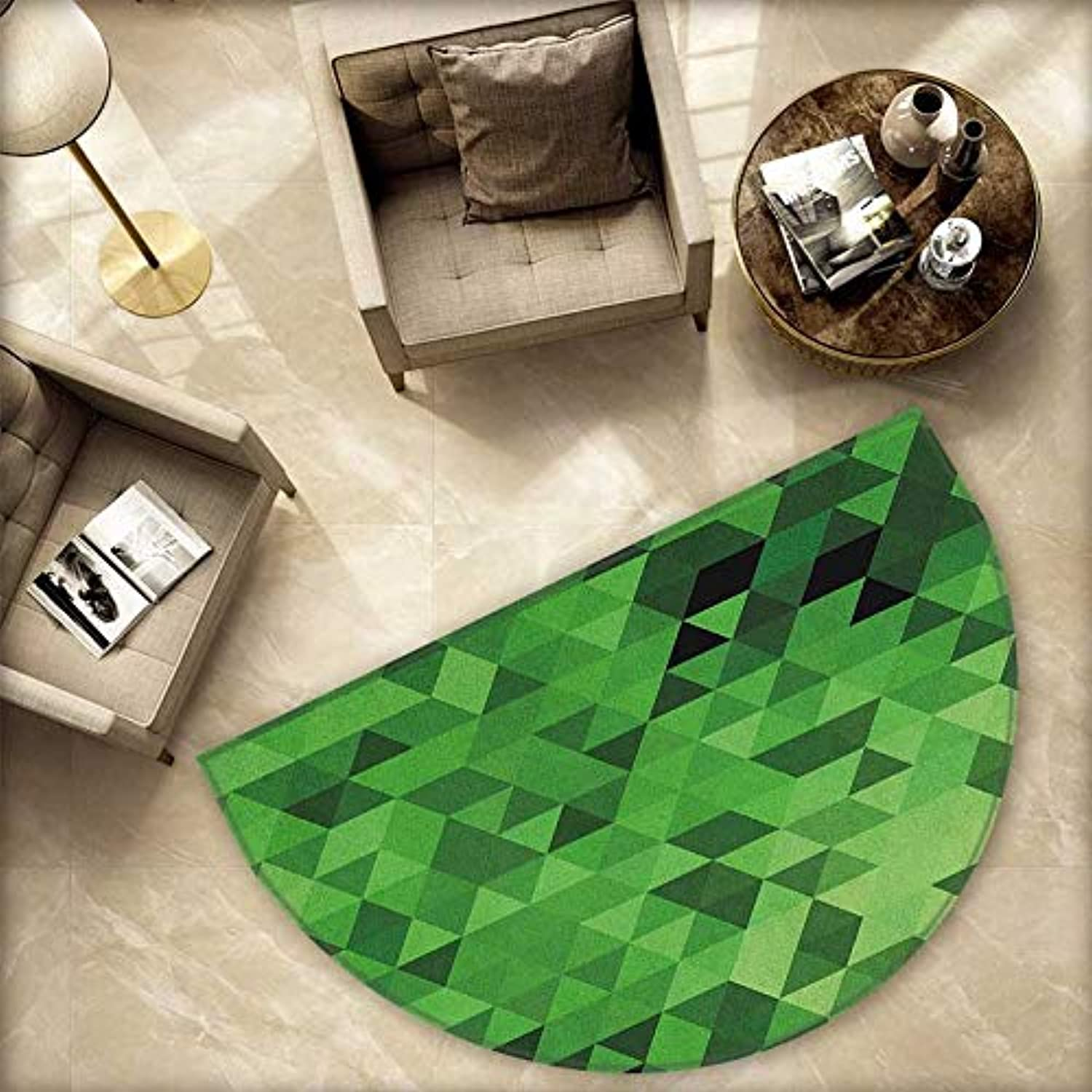 Green Semicircle Doormat Triangles in Green Shades Abstract Modern Mosaic Pattern with Fractal Look Halfmoon doormats H 78.7  xD 118.1  Dark Green Pale Green