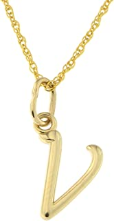 14k Yellow Gold Small Lowercase Cursive Initial Pendant Necklace