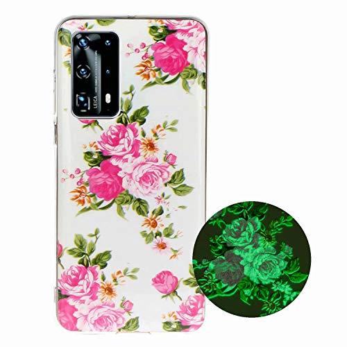 Miagon Leuchtend Luminous Hülle für Huawei P40,Fluoreszierend Licht im Dunkeln Handyhülle Silikon Case Handytasche Stoßfest Schutzhülle,Rose Blume
