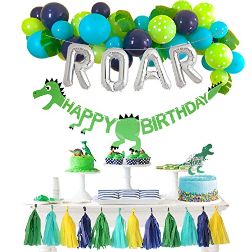 JW Passion Dinosaur Party Decorations Balloons Garland Kit with ROAR Foil Balloon and Little Dino Happy Birthday Banner for Boys 1 2 3 4 Birthday Party Baby Shower Decor