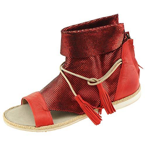 Damenschuhe Coque Terra Damensandalen Kid Red 18930304 + Schuhputz Handschuh (37 EU)