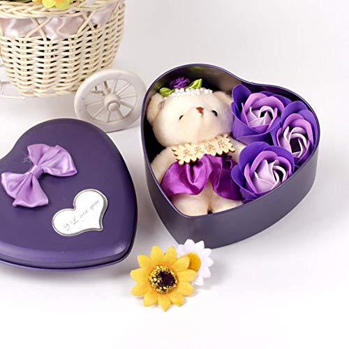Bebliss 3Pcs Caja de Regalo con Forma de corazón de pétalo de Flor d