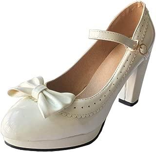 HILIB Woman's High Heel Lolita Shoes Cute Bowknot Mary Jane Shoes