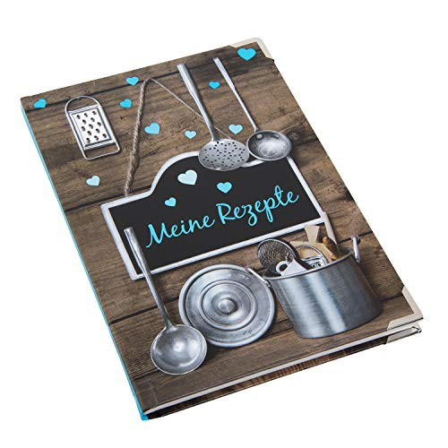 Logbuch-Verlag Pequeño libro de recetas para escribir, DIN A5, texto en alemán, color marrón y azul, libro de cocina en blanco para diseñar uno mismo