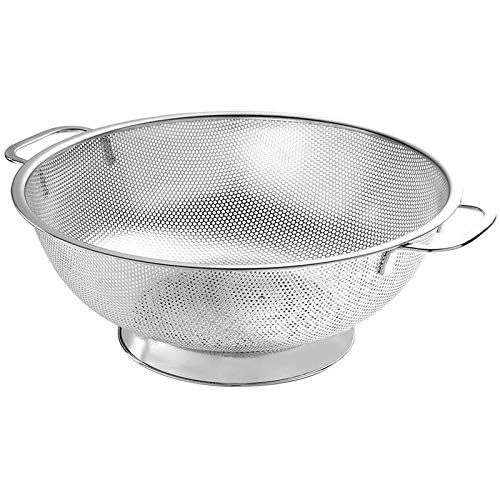 MENGzhuHSA Kitchen Colander Stainless Steel,Micro-Perforated Strainer with Heavy Duty Handle and Large Base,Strainer for Kitchen for Cooking,straining pasta noodles (Color : Silver)