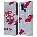 Head Case Designs Licenza Ufficiale Transformers Sorriso 3 Autobots Arte Logo Cover in Pelle a Portafoglio Compatibile con Samsung Galaxy M31 (2020)