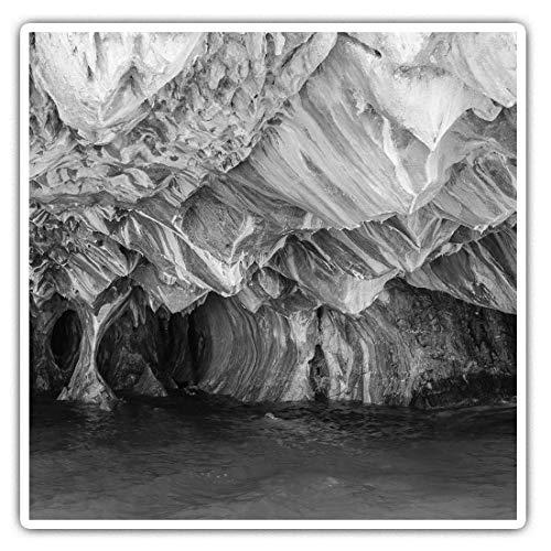 Adesivi quadrati impressionanti (set di 2) 7,5 cm BW – Grotte di marmo Lago Carrera Patagonia divertenti decalcomanie per computer portatili, tablet, bagagli, prenotazione di rottami, frigoriferi, regalo cool #36146