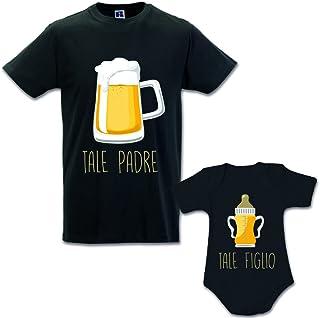 Idea Regalo Coppia di T-Shirt Papa' Figlio Tale Padre Tale Figlio - Birra