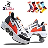 XiuXiu Kick Roller Chaussure, Patin à roulettes Deform 2 en 1,Kick Roller Skate Shoes AdaptéS Aux Filles,GarçOns,Adultes,4 Paires De Chaussettes Fantaisie,Orange,36