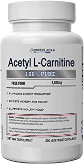 Superior Labs | Acetyl L-Carnitine 1000mg | 200 caps | Maximum Absorption | Pure Vegetable Capsules | Zero Synthetic Addit...