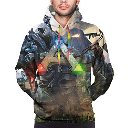 Rogerds Mens ARK-Survival-Evolved Game Logo Logo Winter Hoodie Sweatershirt Long Sleeve Pullover Hoodies for Men Clothes