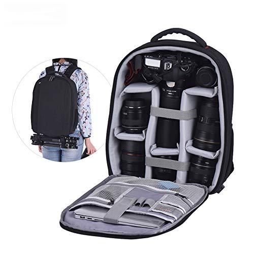 XXCLZ Rucksack für Kamera, Stores DSLR mit angesetztem Objektiv, CSC, Mirrorless, Zoll-Tablet,Black Grey