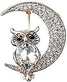 Broche JXtong2 Broche para mujer con forma de búho, diseño de luna, con brillantes, ideal como regalo de boda o cumpleaños