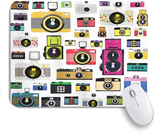 Gaming Mouse Pad rutschfeste Gummibasis, Vintage altmodische Fotokameras Hobby Studio Themed Graphic Design, für Computer Laptop Schreibtisch