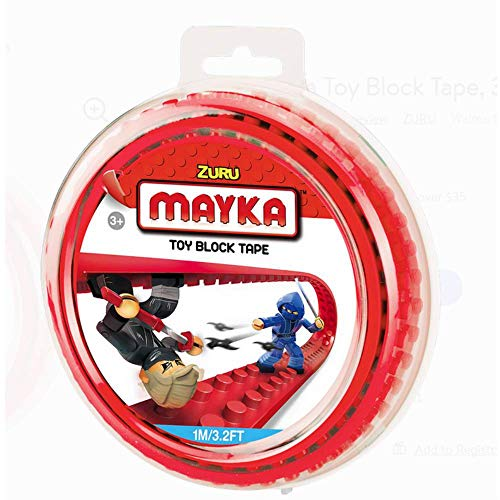 MAYKA™ Toy Block Tape, 3.2ft 2-Stud (Red)