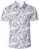 Goodstoworld Camisas Florales Camisa Hawaiana para Fiesta en la Playa de Aloha Beach Camisa Elegante y Casual Manga Corta para Flores Flamencos Florales XL
