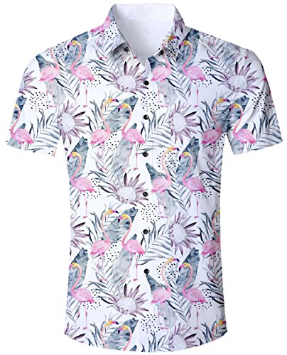 Goodstoworld Camiseta Colorida para Hombres Camisas Vacaciones Ocasionales 3D Funky Animales flamencos Florales impresión Camiseta Ajuste Regular Verano XXL