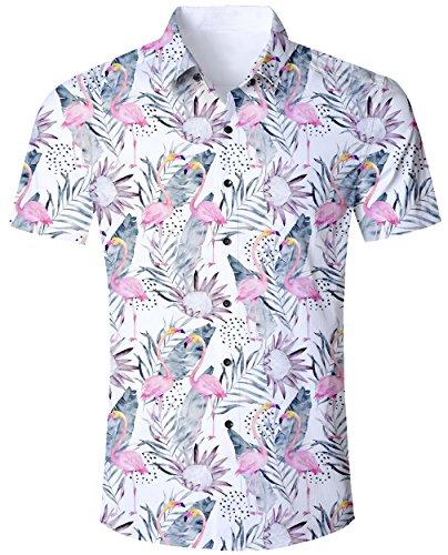 Goodstoworld Camisa Hawaiana para Hombre Camisa de Manga Corta Informal Camisas de Vacaciones 3D Impreso Camisa Colorida Flamencos Florales M