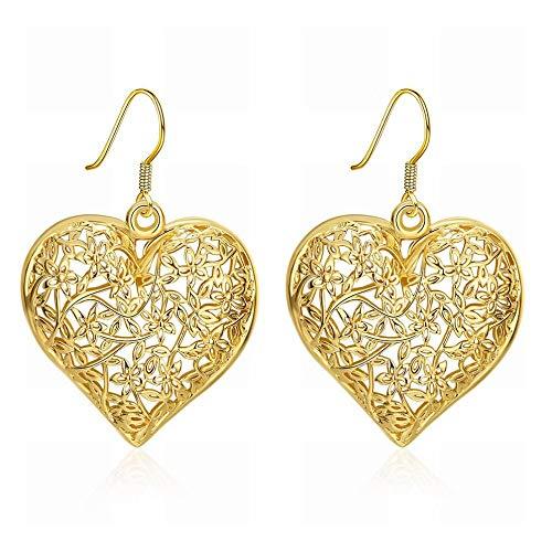 JIAJBG un Par de Damas Moda K Oro Clásico Esmalte en Forma de Corazón Gancho para la Oreja/Circonia/Pendientes de Gancho/Peque?o Y Exquisito Moda salvaje/Como se muestra