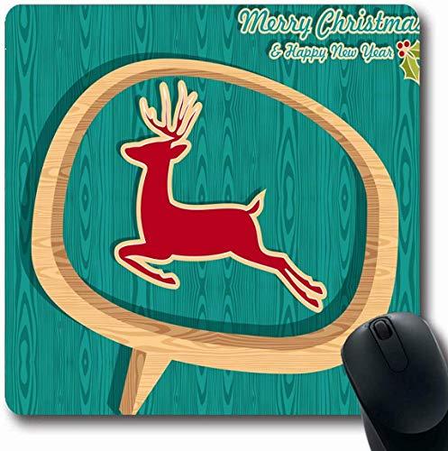 RWYZPAD Mousepad OblongMessage Rotes Rentier Retro Weihnachtsverkauf Springender Hirsch Rahmen Feiertage Plakat Blase Feier Büro Computer Laptop Notebook Mauspad, rutschfestes Gummi