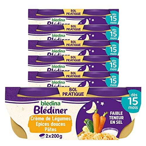 Blédina - Blediner - 12 bols - Crème de Légumes aux Epices Douces et Pâtes Coquilles - Pour le Diner de bébé dès 15 Mois - Pack de 6x2