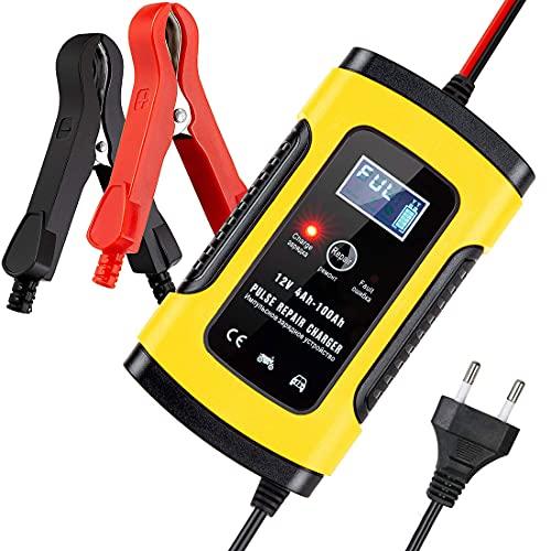 5A 12V Autobatterie Ladegerät, Ladegeräte für Autobatterien , Vollautomatisches Intelligent Batterieladegerät Erhaltungsladegerät mit LCD Mehrfachschutz für Autobatterie, Motorrad,Rasenmäher oder Boot