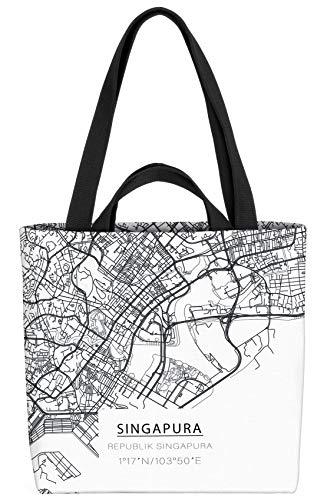 VOID Singapur Stadtplan Tasche 33x33x14cm,15l Einkaufs-Beutel Shopper Einkaufs-Tasche Bag