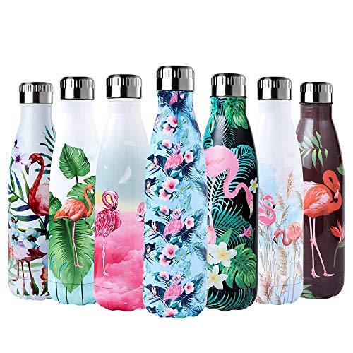 Enlifety Trinkflasche Edelstahl Doppelwandige Thermosflasche, Vakuum Wasserflasche 500ml, BPA Frei Thermosflasche Isolierflasche Sportflasche für Kinder, Fitness, Fahrrad, Yoga, Wandern und Camping