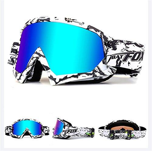 IHRKleid Motorrad Goggle Motocross Wind Staubschutz Fliegerbrille Snowboardbrille Schneebrille Skibrille Wintersport Brille Dirtbike Off-Road Schutzbrille (Weiß)
