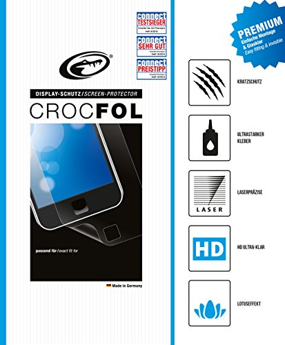 CROCFOL PREMIUM 5K HD (2er PACK) Schutzfolie für das Navigon 40 Premium / Plus Ultraklar und praktisch unsichtbar. ANTIBAKTERIELL (LOTUS EFFEKT) und KRATZFEST (HARD COATING). 3D Touch Folie für das Original Navigon 40 Premium / Plus.
