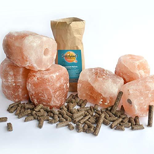 BIOMOND Salzleckstein Kristallsalz 6 Stück (6 x 2 kg) Mineral Lecksteine mit Kordel und 10 kg GRATIS Bio-Leinsamen Pellets