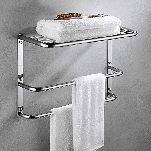 Moerc Stainless Steel Towel Rack Wall Mounted handdoek Shel badkamer plank Keuken Storage Rack Holder Handdoekstang Home Hardware Waterdicht en Rustproof (Size : 60cm)