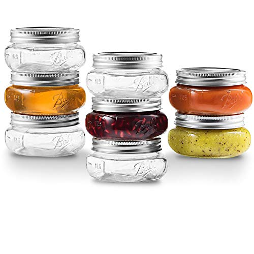 Ball Wide Mouth Mason Jars 8 oz [8 Pack] With Airtight lids and Bands - For Canning And Preserving, Jams, Sauce, baby Food - Microwave And Dishwasher Safe, Bundled With SEWANTA Jar Opener