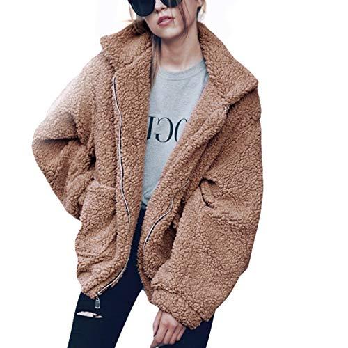 GWELL Damen Plüschjacke Nachgemachte Kaschmir Warme Teddy-Fleece Jacke Mantel mit Reißverschluss für Herbst Winter Braun 2XL