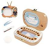 Aplicar a Xiaosong de madera creativa del diente de televisión Niños Conjunto de hojas caducas Preservación caja de diente de los dientes de bebé Casa Caja de almacenamiento (Color : Color1)