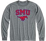 Ivysport Southern Methodist University Mustangs Long Sleeve Adult Unisex T-Shirt, Heritage, Charcoal Grey, Medium