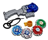 4d system beyblades 4 in 1 beyblades metal fighter by sceva,fighters fury with metal fight ring and handle launcher toy (Multi color)