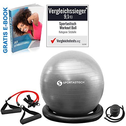 Sportastisch Gymnastikball Vergleichssieger¹ Workout Ball mit Pumpe & Trainingsbänder, Robuster Sitz-Ball für Büro & Yoga, Anti-Burst Stabilitätsball mit E-Book & biszu 3 Jahren Garantie,60cm,Grau