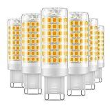 Ampoule LED G9, Eterbiz No Flicker 7W LED Lampes Blanc Chaud 3000K, 650LM, Économie d'énergie Equivalente 60W Halogène Lumière, 360 Degrés Angle, AC220-240V - Pack de 6
