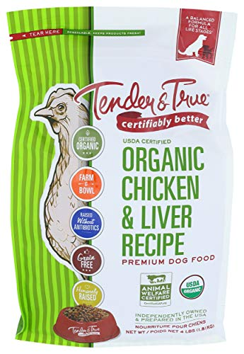 Tender & True Organic Chicken & Liver Recipe Dog Food, 4 lb