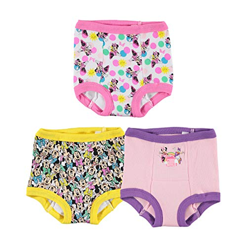 Disney Girls' 3pk Minnie Mouse Multi-Pack Potty Training Pant, Assorted, 2T