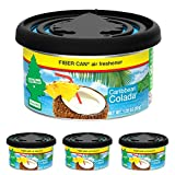 Little Trees UFC-17824-24 Car Air Freshener | Fiber Can Provides a Long-Lasting Scent for Auto or Home | Adjustable Lid for Desired Strength | Caribbean Colada, 4-Pack