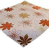 Tischdecke 85 x 85 beige Stickerei 'Blätter' braun terracotta Leinenoptik Herbstdeko Mitteldecke