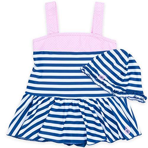 子供水着 女の子 キッズ 水着 sandia サンディア 胸元切替 ボーダー キャップ付き110nvy