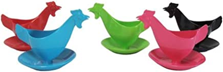 """Preisvergleich für Eierbecher """"Huhn"""" in kräftigen Farben sortiert 5er Set, Hühnereierbecher"""