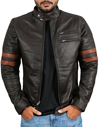 Laverapelle Men's Genuine Lambskin Leather Jacket (Brown, Medium, Polyester Lining) - 1501535