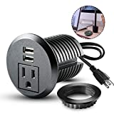 Desktop Power Grommet,2inch Hole Table Power Grommet Outlet with 2 USB Charging Ports,6.5ft Extension Cord Desk Power Strip with 1 Outlets for Computer,Table, Kitchen, Office,Home,Hotel and More