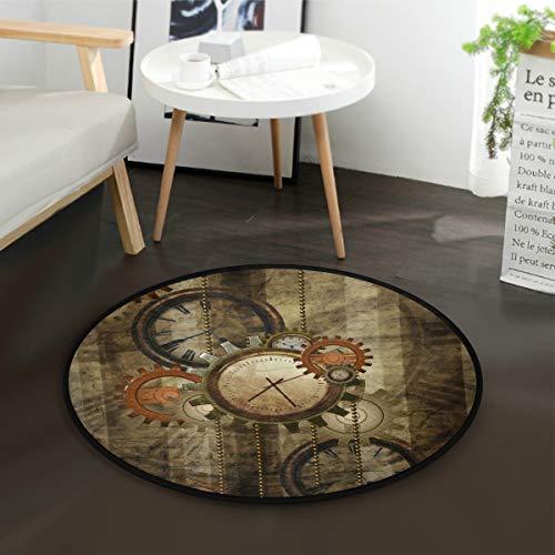 Mnsruu Steampunk Clock Gear Tapis rond vintage pour salon chambre à coucher Diamètre 92 cm