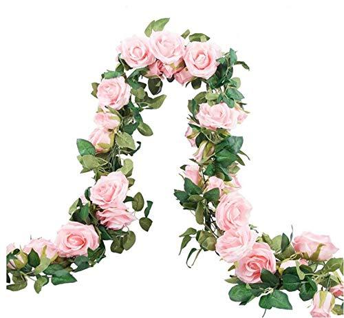 Hitopin 2 Stück (179cm pro Strang) Künstliche Blume Hängende Dekoration Rose Gefälschte Blume Für Zuhause Hochzeitsarrangement und Party Garten Dekor (Rosa, 69 Klein Rose Blumen)